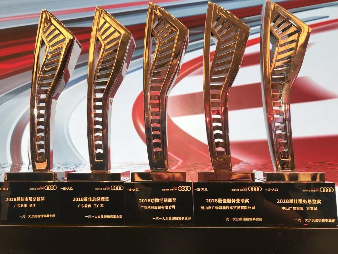 恭贺广物奥迪荣获2018年度经销商五大奖项