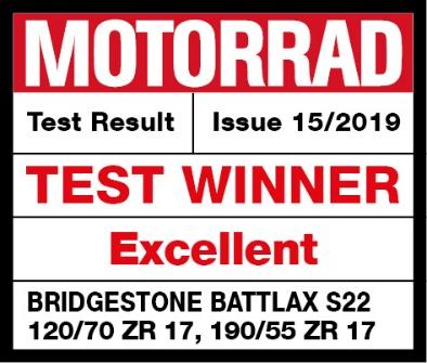 普利司通 BATTLAX S22荣获德国MOTORRAD杂志测评榜首